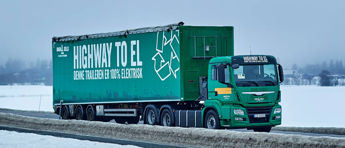 The electric truck has a maximum weight of 50 tonnes fully loaded and is 100% electric.